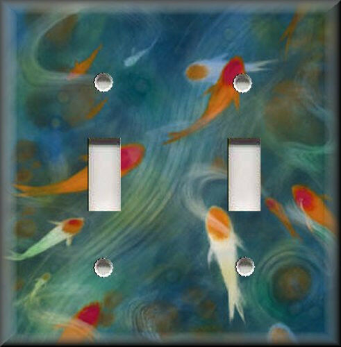 Light switch plate cover koi pond fish asian home for Koi home decor