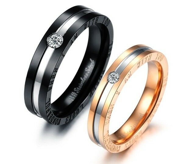 diamond matching titanium steel lovers promise ring couple. Black Bedroom Furniture Sets. Home Design Ideas