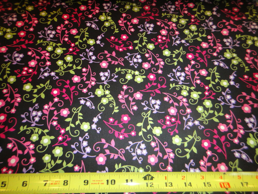 Love hope cotton fabric colored flowers black fabric by for Cotton quilting fabric