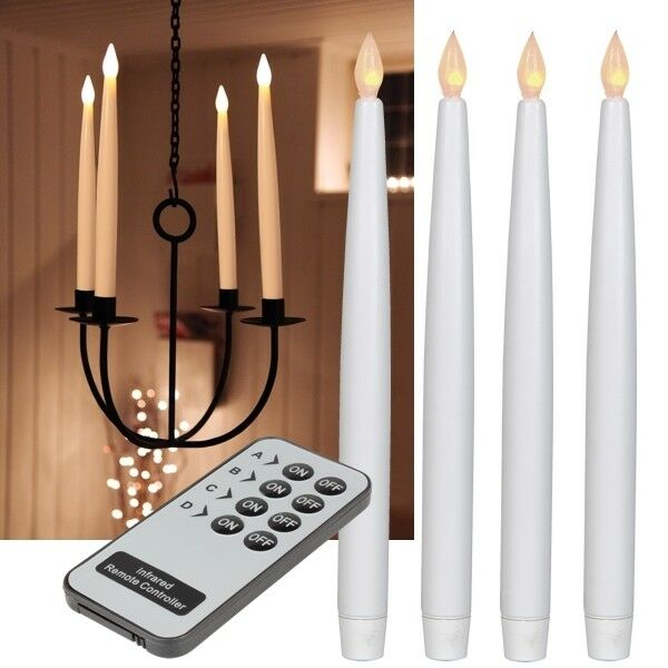 4er set led kerzen mit fernbedienung 290mm flammenlose flackernd tafelkerzen ebay. Black Bedroom Furniture Sets. Home Design Ideas