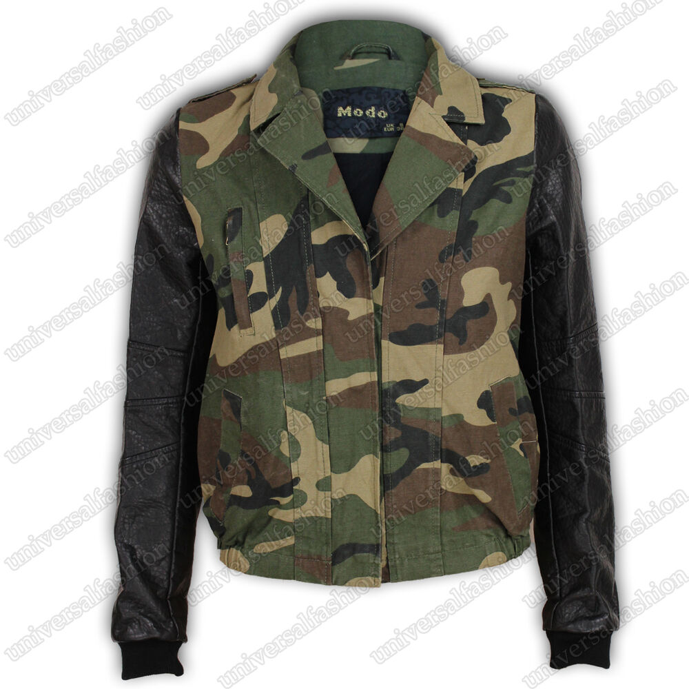 ladies jacket biker womens coat leather army camouflage camo military print ebay. Black Bedroom Furniture Sets. Home Design Ideas