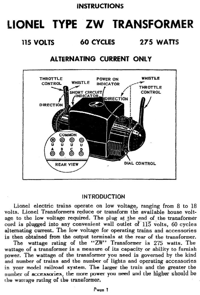large print instructions manual for lionel zw watt transformer large print instructions manual for lionel zw 275 watt transformer
