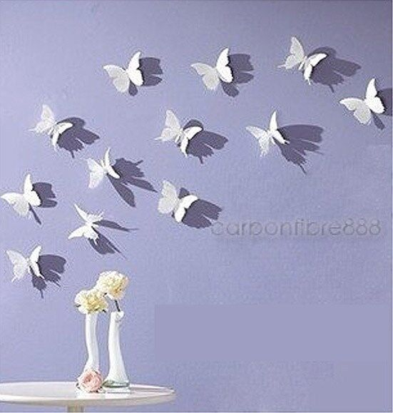 White Butterfly Wall Decor Target : White d butterfly wall stickers art decal pcs pvc