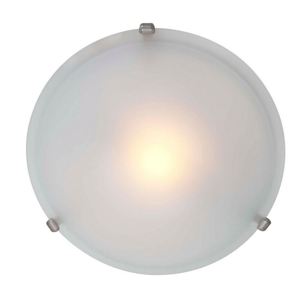 Satin Nickel And Frosted Glass Flush Mount Ceiling Light