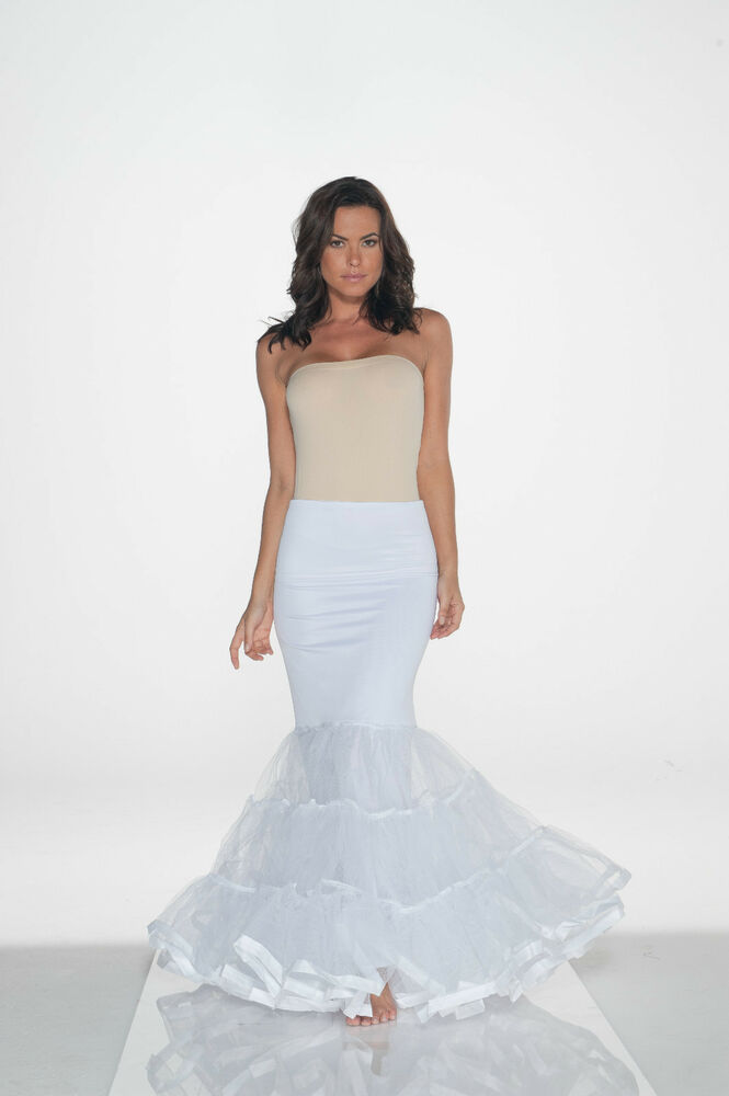 New white trumpet mermaid style slip petticoat sz large ebay for Mermaid slip for wedding dress