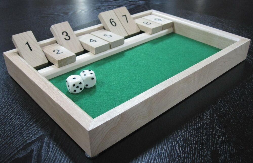 Shut the box board game set wooden 9 number bar drinking for Food bar drinking game