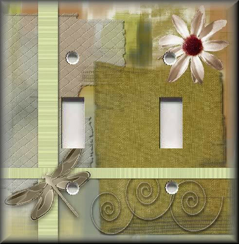 Light Switch Plate Cover Dragonfly With Flower Insect