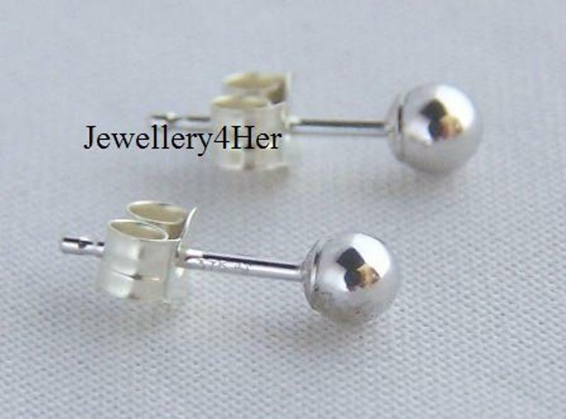 9ct white gold 4mm small plain bead studs