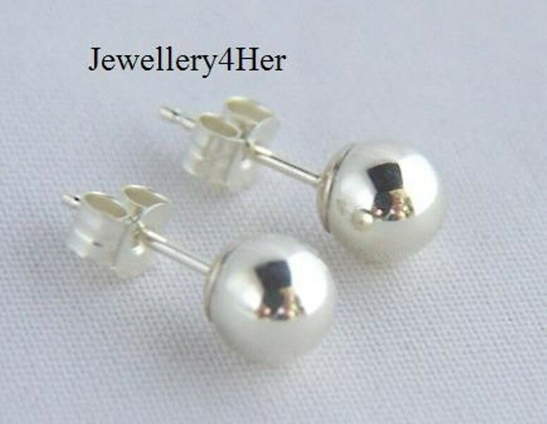 9ct White Gold 6mm Large Plain Round Ball Stud Sleeper