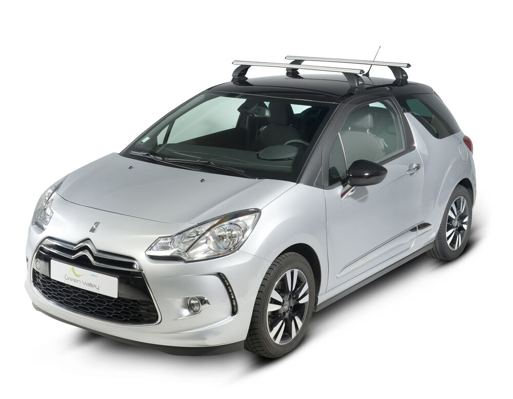 aluminium aero dynamic roof rack bars locking citroen ds3 3 door green valley ebay. Black Bedroom Furniture Sets. Home Design Ideas