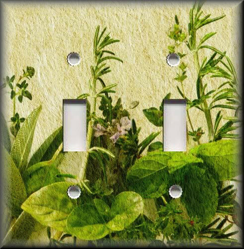 Light switch plate cover fresh garden herbs kitchen for Home decorations on ebay