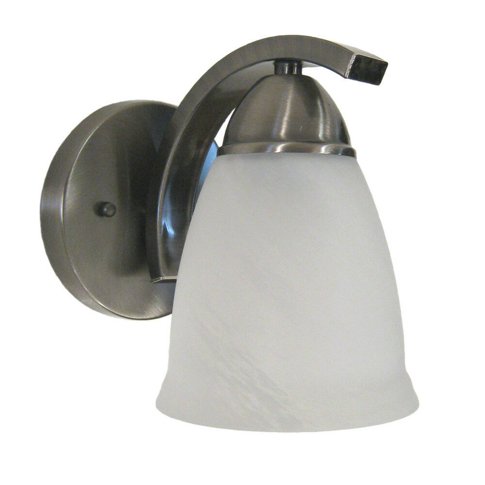 Satin Nickel And Alabaster Glass Wall Sconce eBay