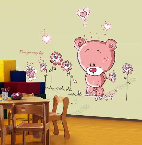pink teddy bear flowers wall stickers mural art paper child girl nursery decor ebay. Black Bedroom Furniture Sets. Home Design Ideas