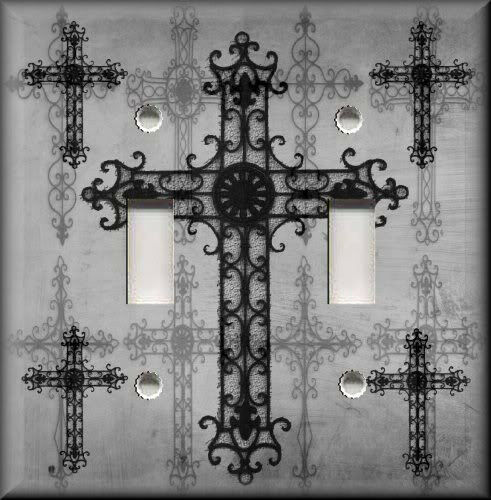 Light switch plate cover gothic old world crosses grey for Old world home decor