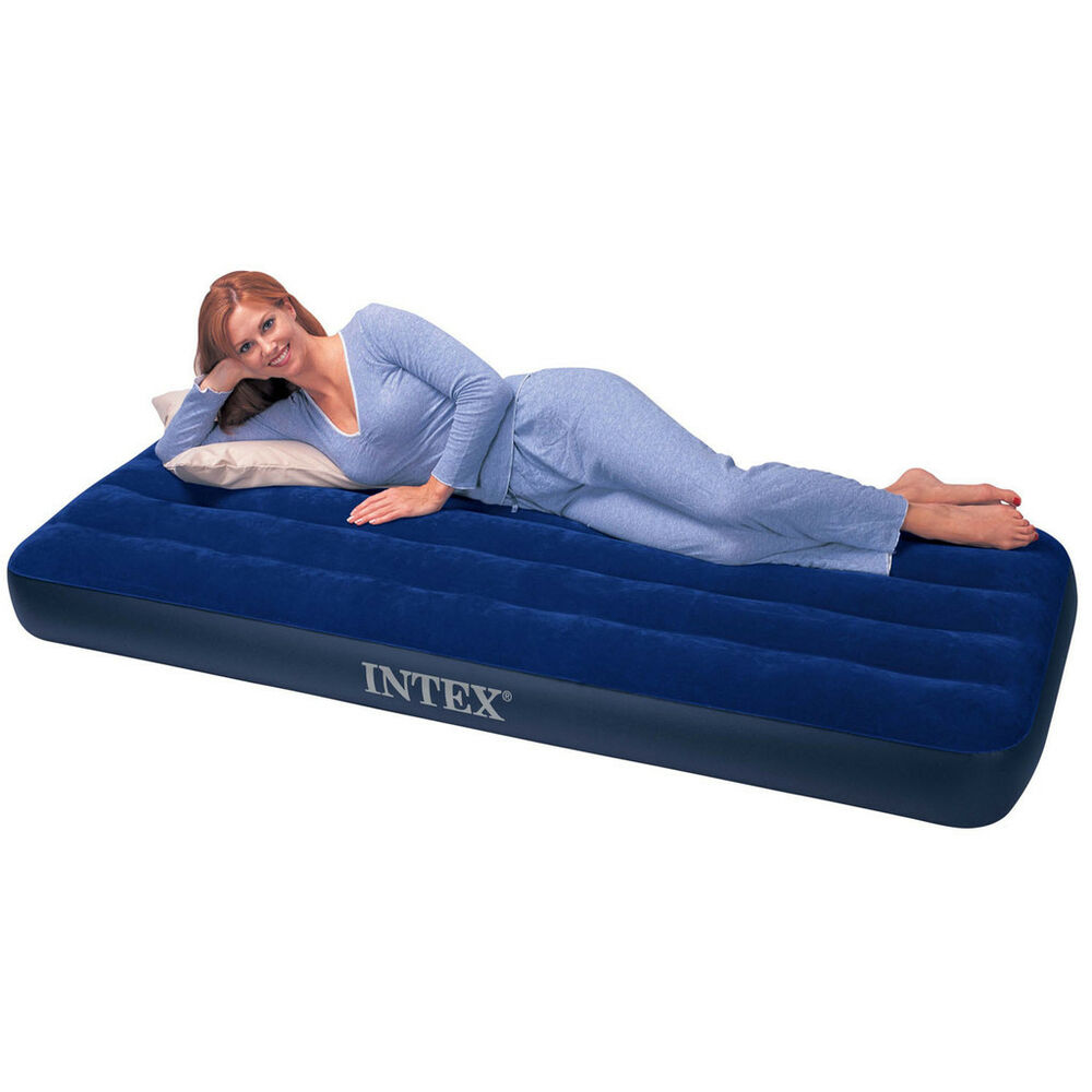 intex single size inflatable air bed airbed mattress indoor outdoor camping new ebay. Black Bedroom Furniture Sets. Home Design Ideas