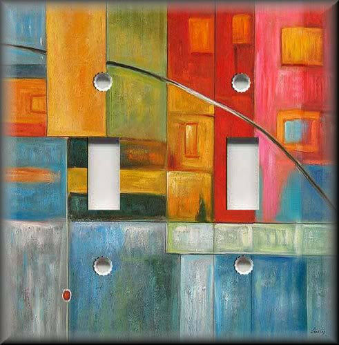 Light Switch Plate Cover Colorful Abstract Art Modern Home Decor Ebay