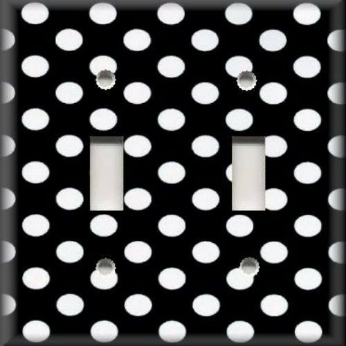 Light switch plate cover black and white polka dots for Black and white polka dot decorations