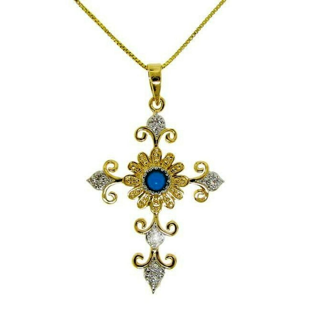 turquoise alternatives cross pendant necklace 14k