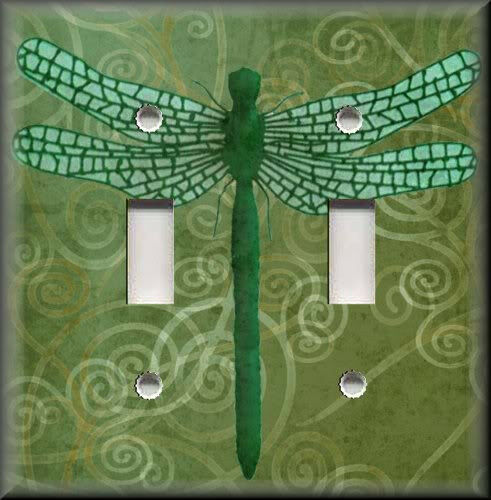 Light Switch Plate Cover Dragonfly With Green Swirl Background Home Decor Ebay
