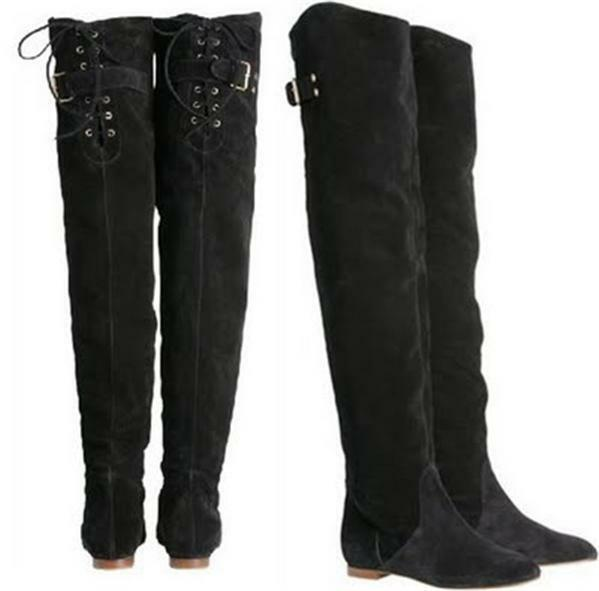 Chloe CROSTA Dark Brown Suede Over The Knee High Tall Flat Boots ...