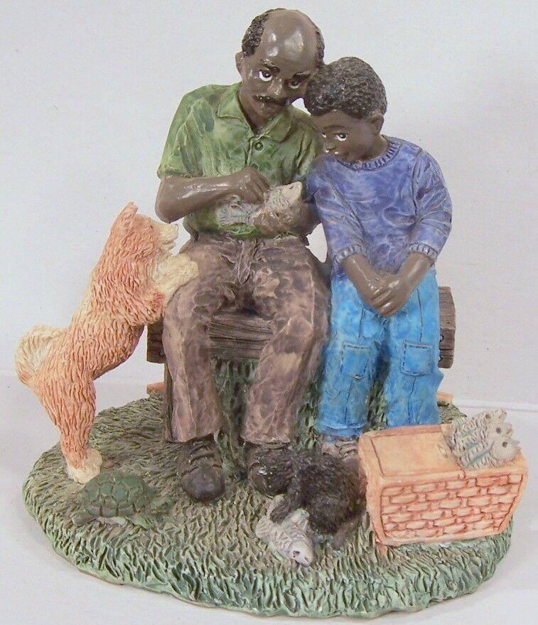 Father son good day fishing statue figurine resin