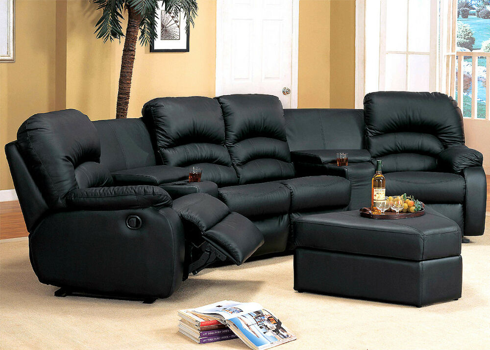 7pc Home Theater Black Leather Sectional Recliner Seats W
