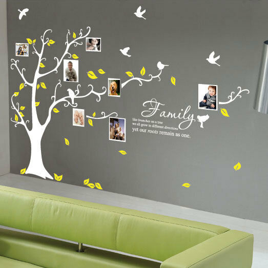 Family Tree Bird Photo Frame Wall Quotes Wall Stickers