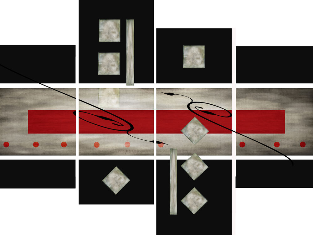 Red Black And Gray Wall Decor : Large red black grey abstract canvas picture wall art
