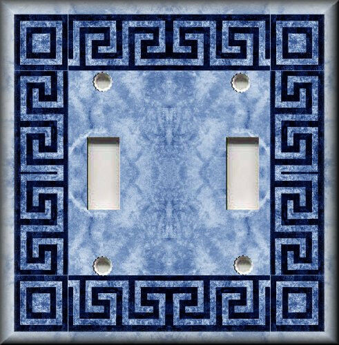 Light switch plate cover greek key blue bathroom for House key cover with light