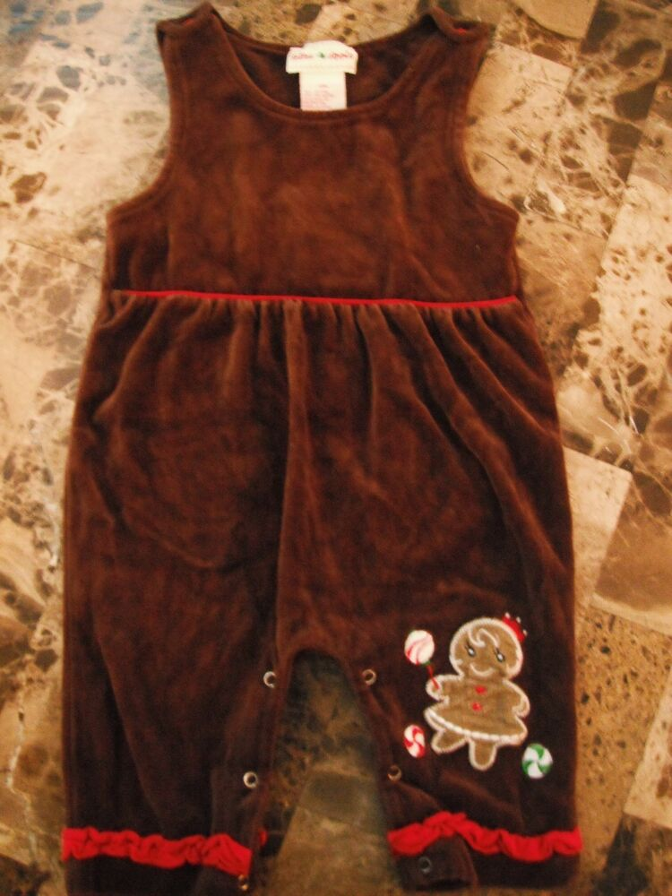 Baby girls toffee apple christmas outfit brown velvet gingerbread lady