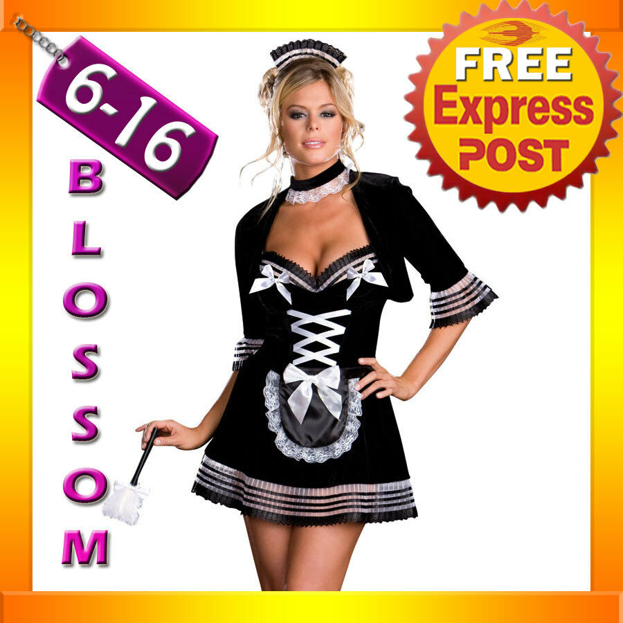 J55 Black Deluxe French Maid Halloween Fancy Dress Up