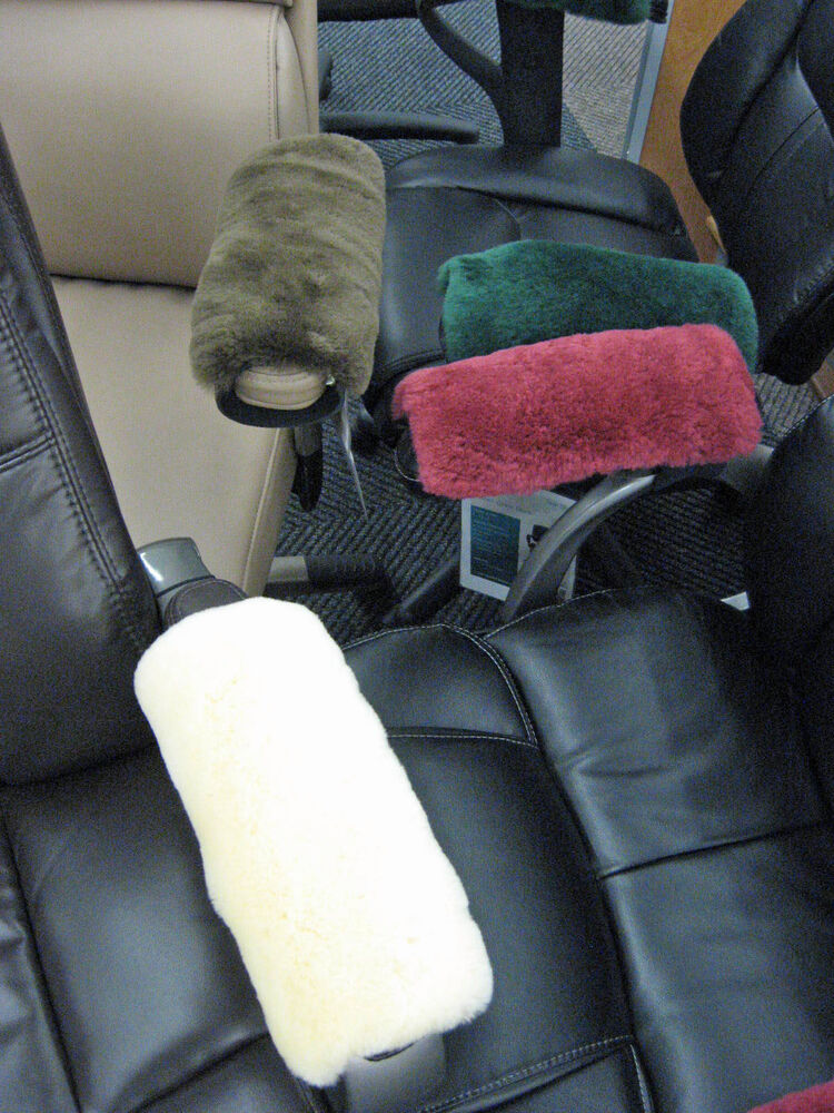 White Merino Sheepskin Armrest Covers Pad Scooters