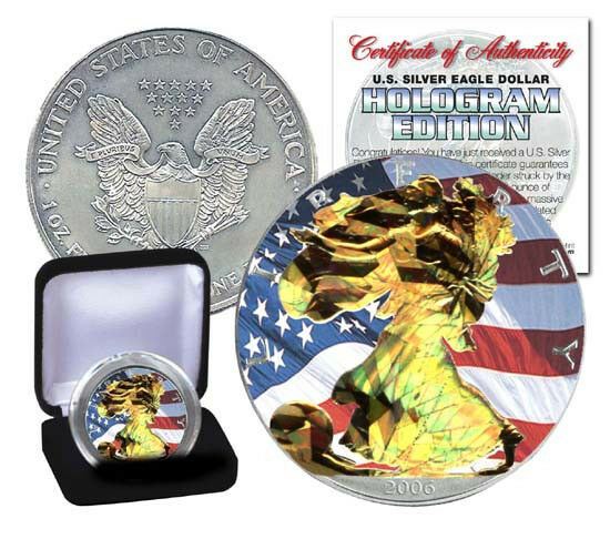 New 2007 1oz Hologram Colorized American Silver Eagle