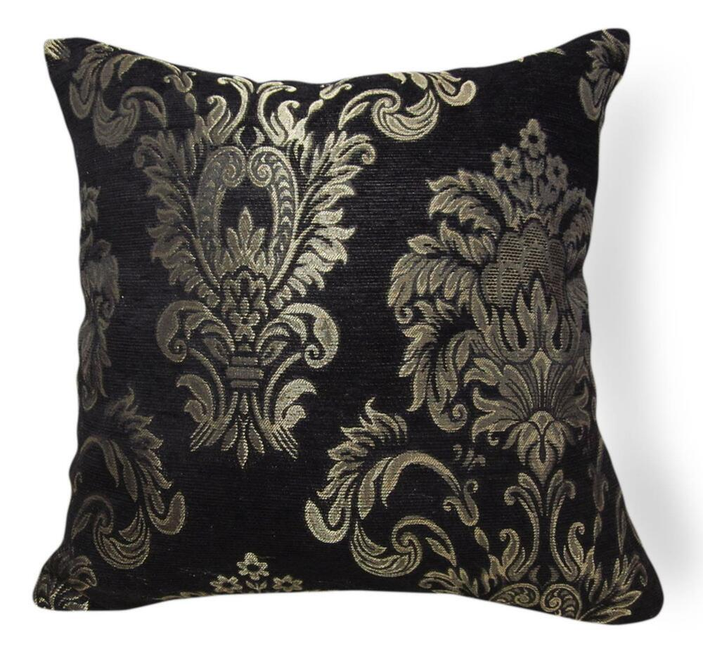 Wd52Aa Pale Gold on Black Damask Chenille Flower Throw Cushion Cover/Pillow Case eBay