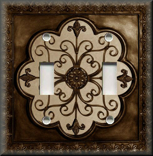 Light Switch Plate Cover Faux Finish Fleur De Lis Image Brown Home De