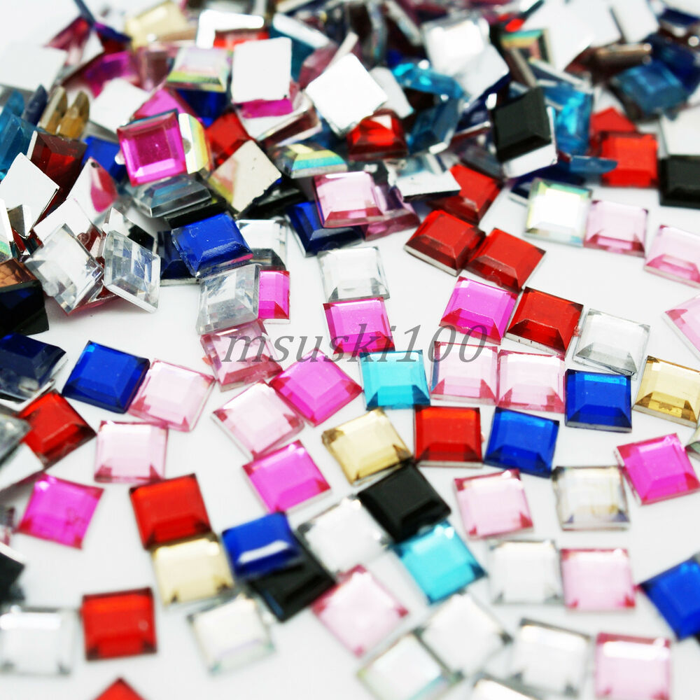 Square shape acrylic rhinestones flat back nail art for Plastic gems for crafts