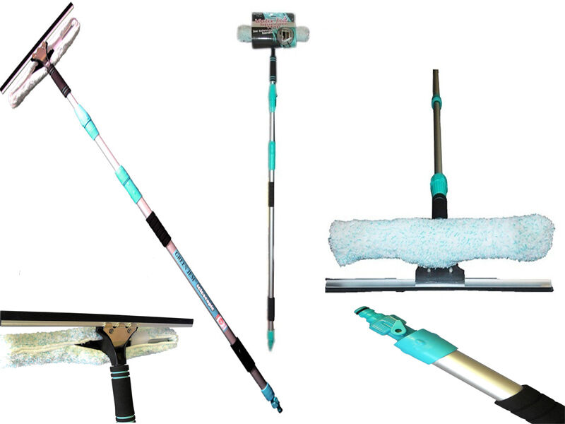 Water Fed Squeegee Mop 3m Telescopic Expandable Handle