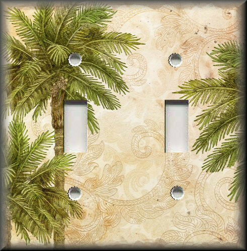 Beach light switch plate cover tropical palm trees for Beach house decor items