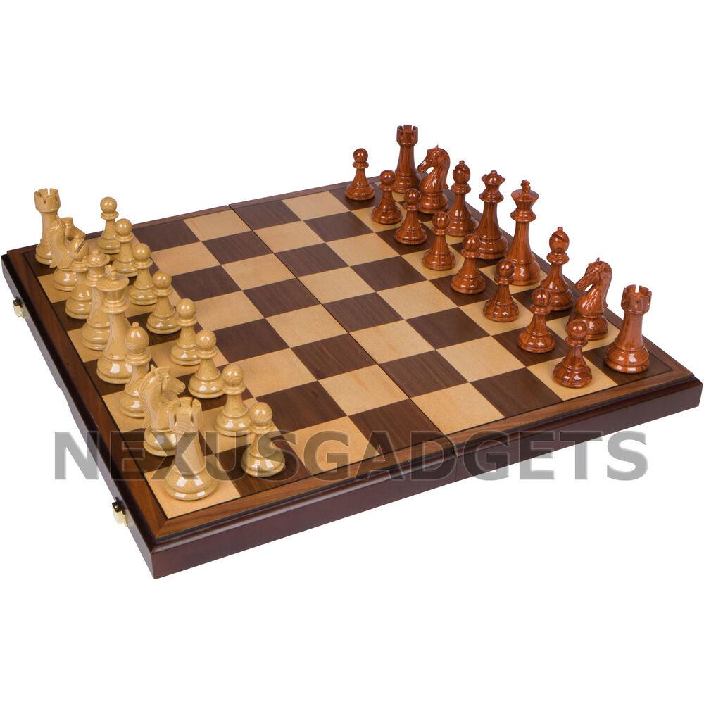Wooden Chess Table ~ Chess board game set weighted pieces inch folding