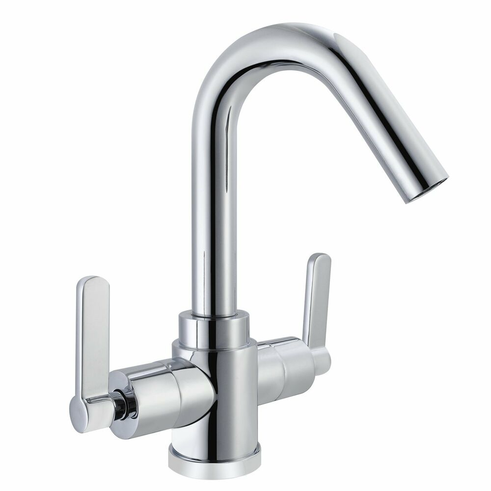 Washroom Taps : Kitchen Sink Washroom Basin Twin Lever Chrome Mono Mixer Tap Swivel ...