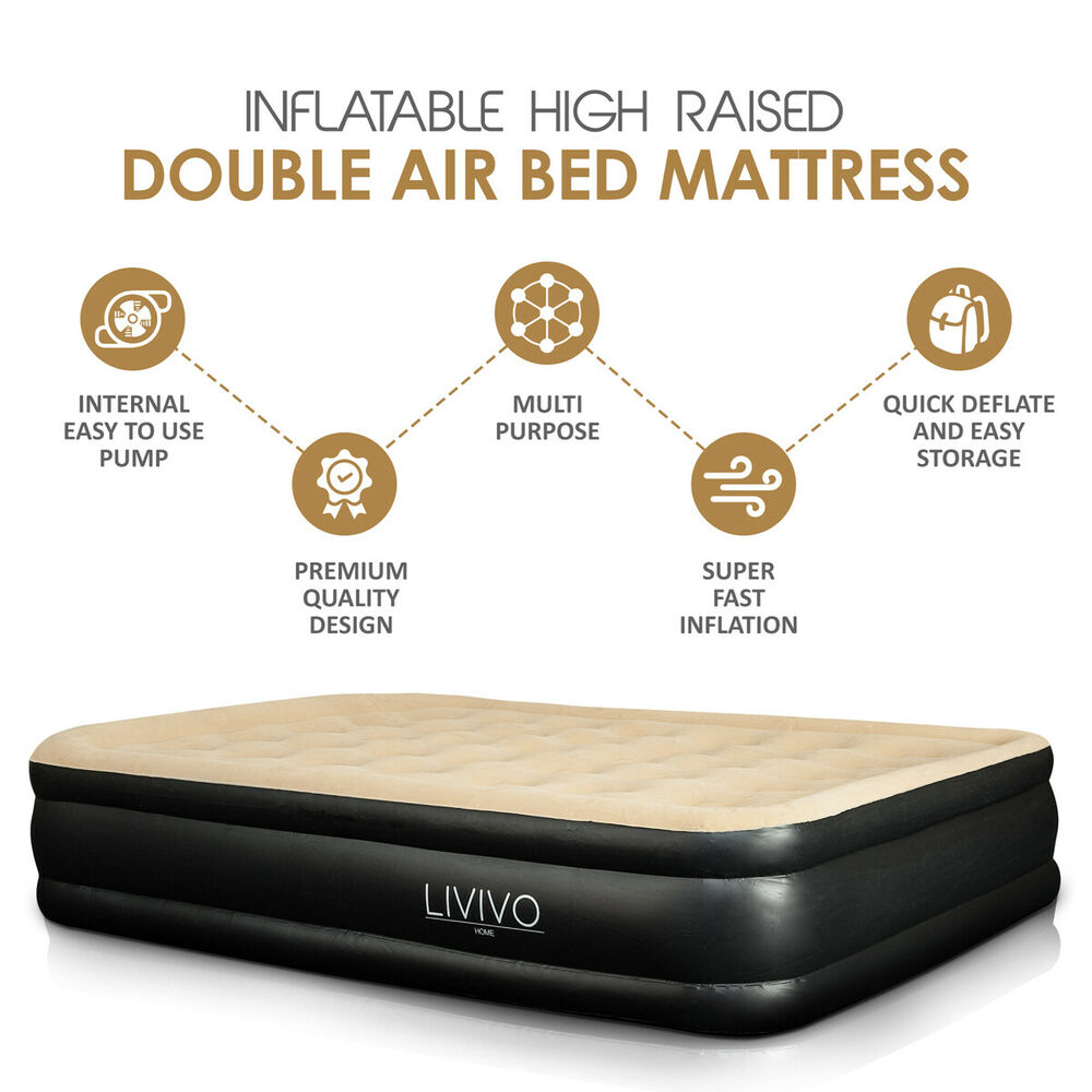 Inflatable Double High Raised Air Bed Mattress Airbed W