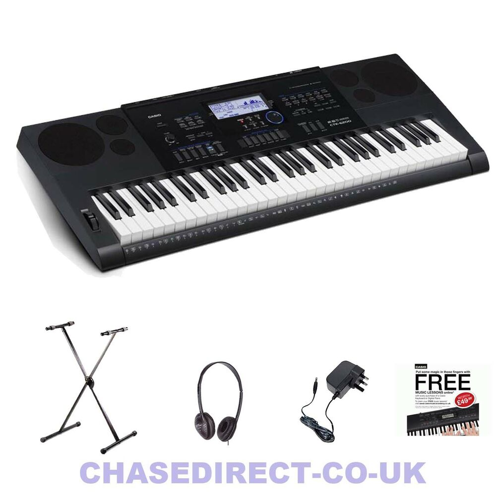casio ctk 6200 digital electric piano keyboard stand headphones power supply ebay. Black Bedroom Furniture Sets. Home Design Ideas