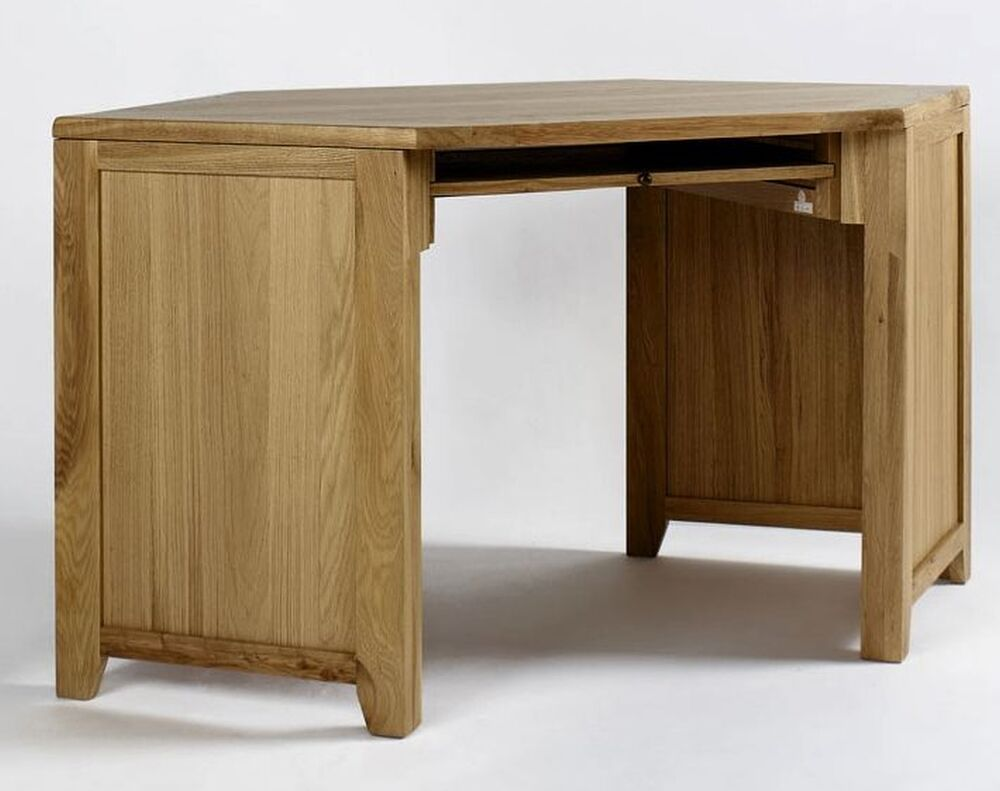 Newbury solid oak furniture corner office computer desk for Solid oak furniture