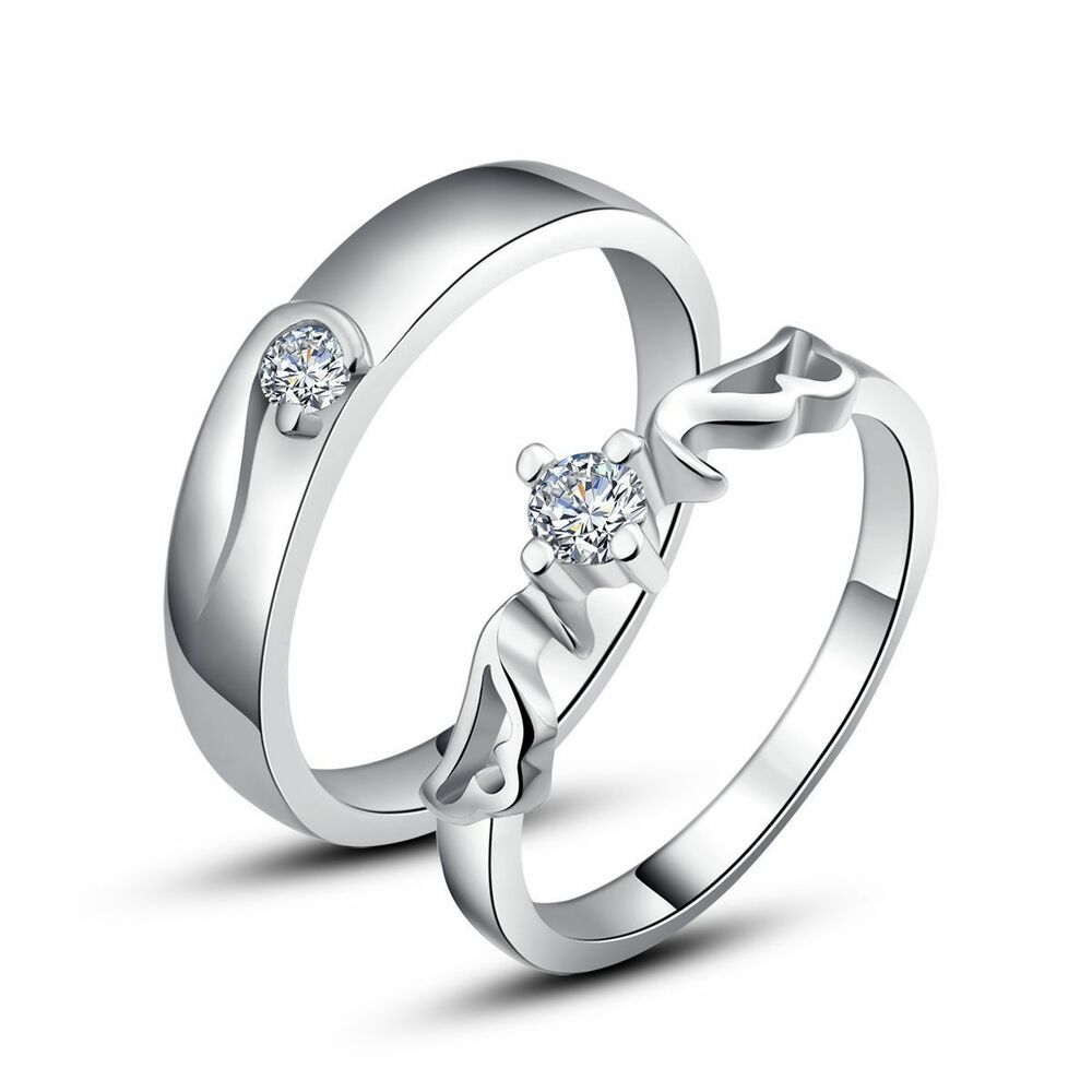 Engagement Rings For Couples: 925 Sterling Silver Couple Love Imperial Crown Wedding