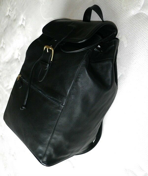 coach lg vintage blk leather buckle travel luggage