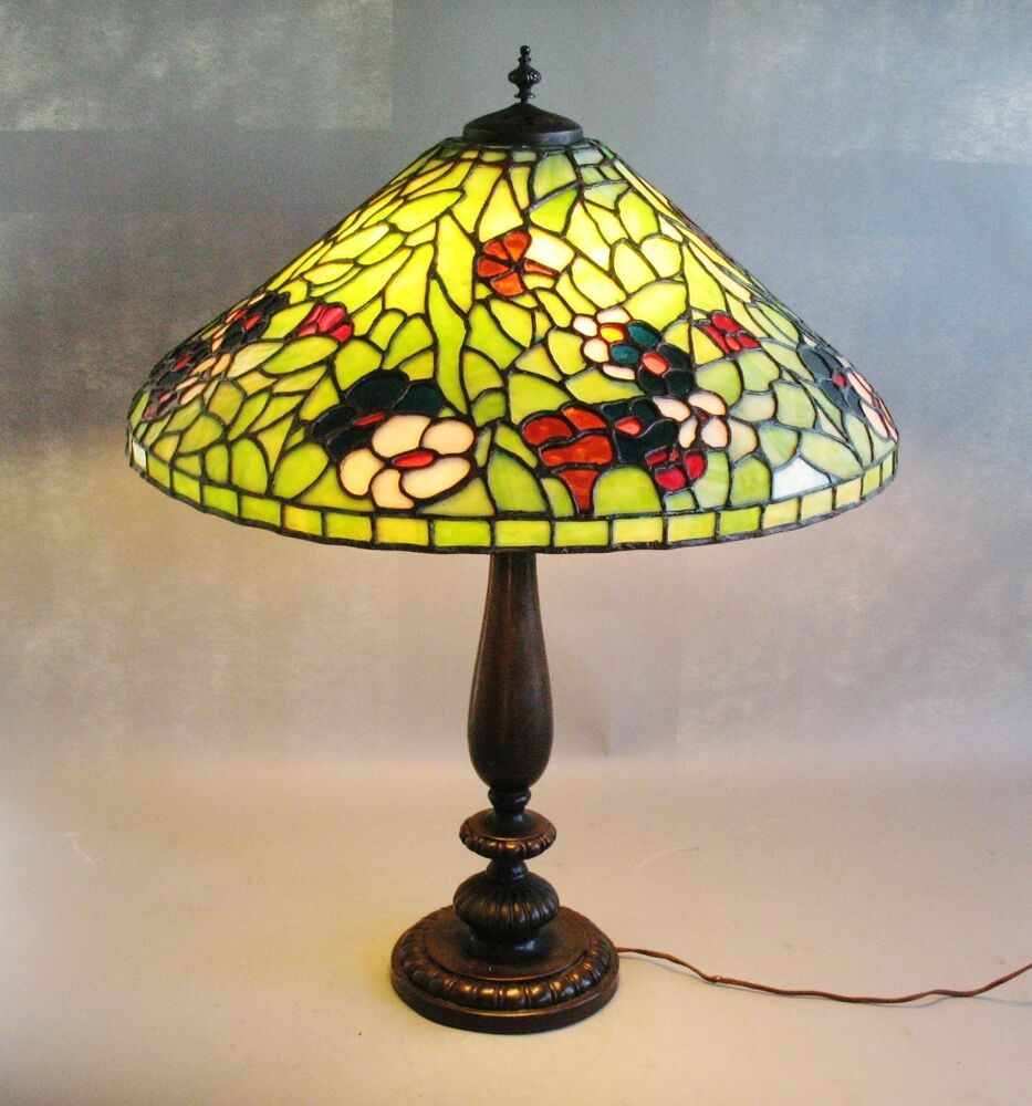 Massive 24 Bigelow Amp Kennard Stained Leaded Glass Lamp C