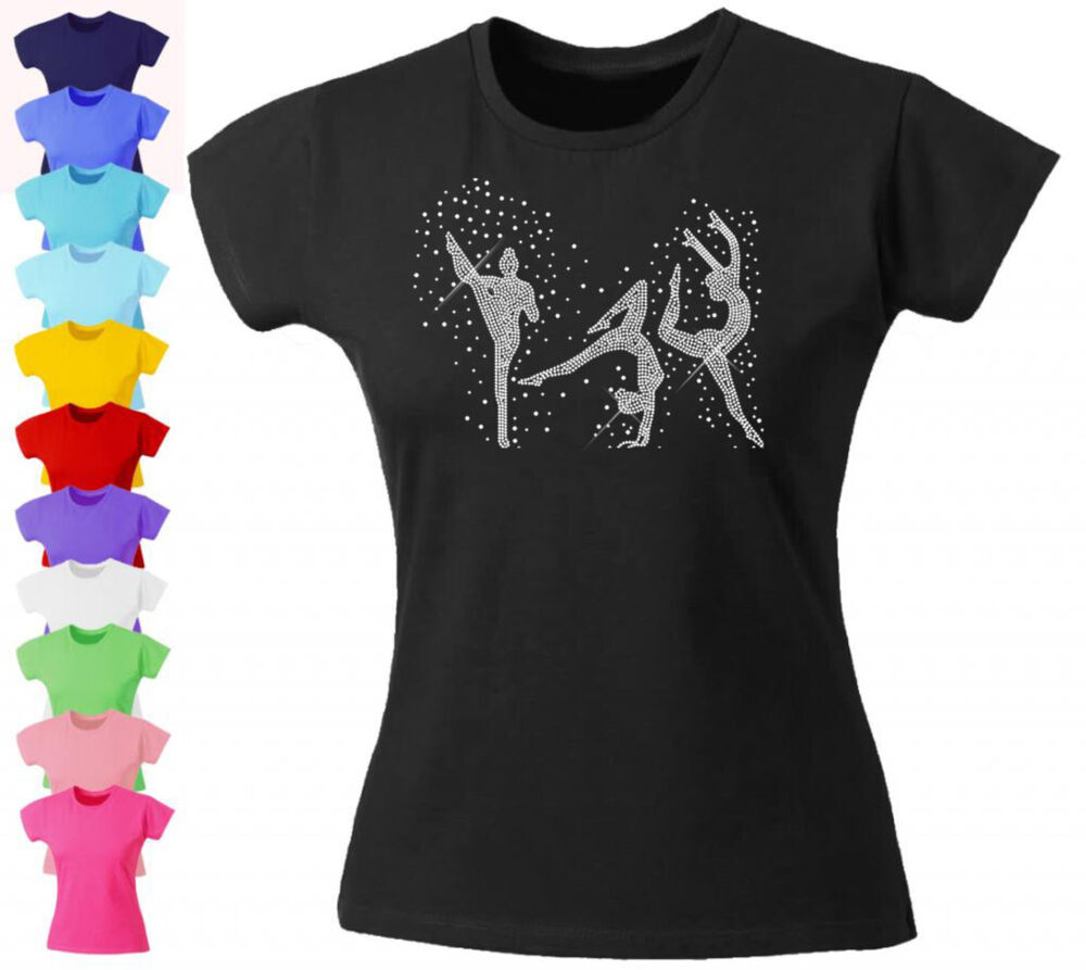 Girls diamante rhinestone fitted t shirt dance Gymnastics t shirt designs