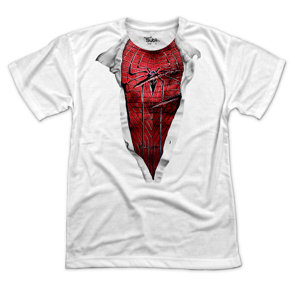 amazing spiderman chest t shirt funny comic super hero tee in sizes s 3xl ebay. Black Bedroom Furniture Sets. Home Design Ideas