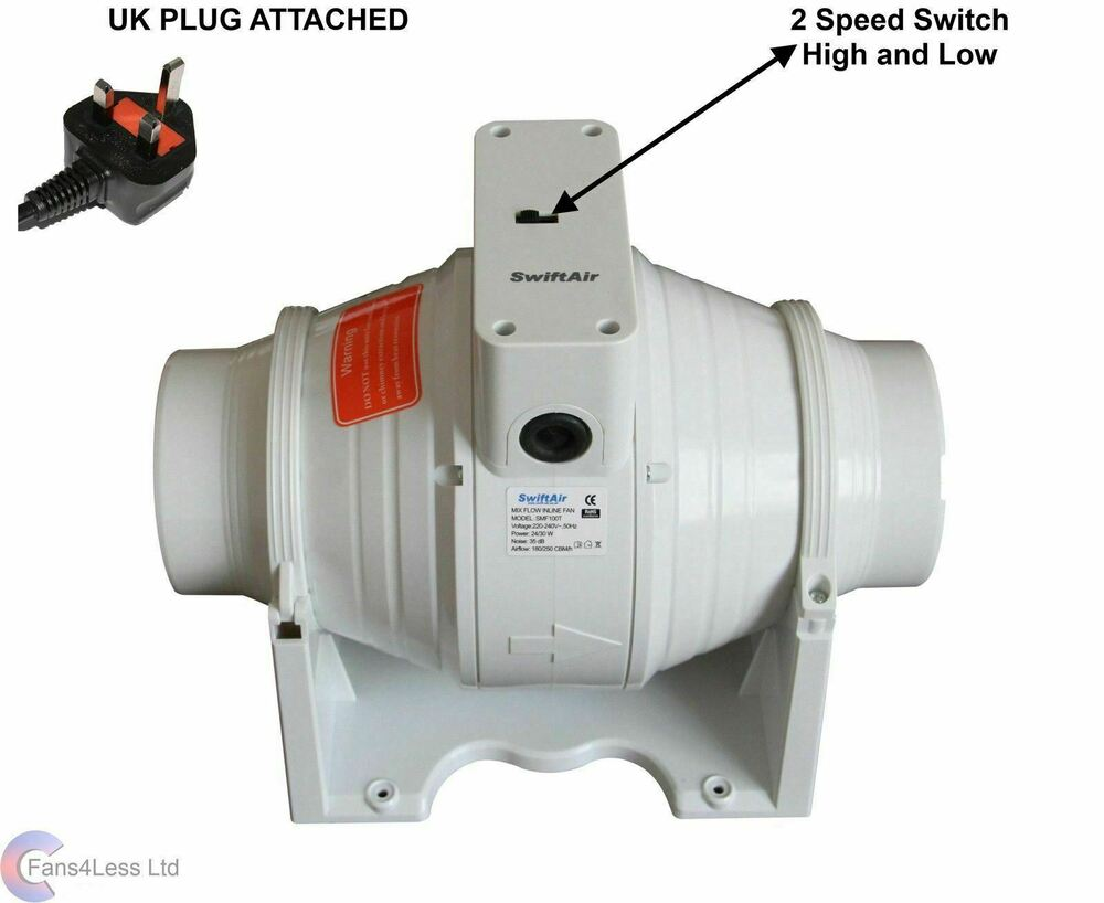 How to fit a bathroom extractor fan - Sale Xflo100s In Line Mixed Flow 4 Hydroponics Bathroom Extractor Fan Uk Plug Ebay
