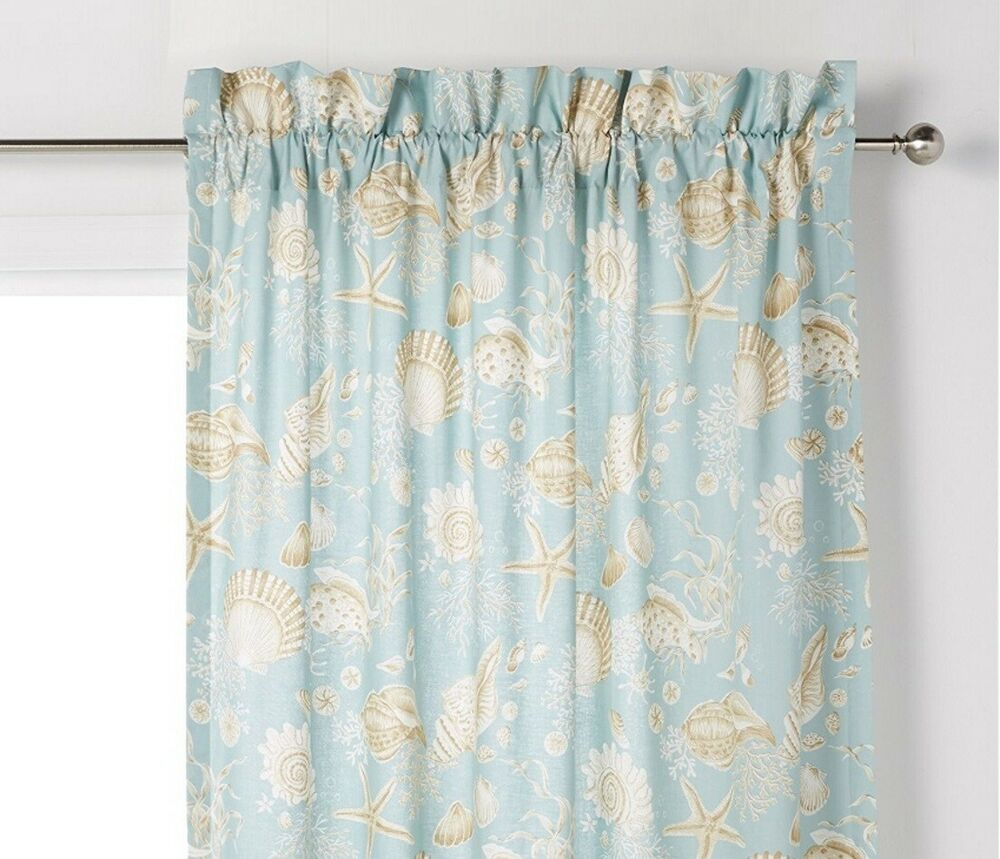 Natural Shells Window Curtain Aqua Shell Tropical Beach